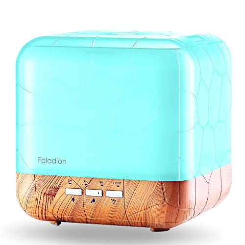 Foladion 1000ml Aroma Essential Oil Diffuser Humidifier, Ultrasonic Aromatherapy Diffusers,Adjustable Mist Mode,Water-less Auto Shut-Off & 7 Color Changing for Home Office Bedroom Living Room Study
