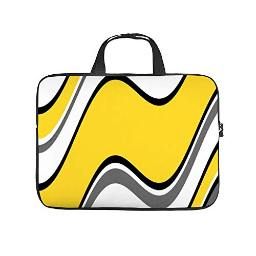 Yellow Gray Black White Abstract Waves 10InchLaptopSleeveCaseProtectiveCoverCarryingBagfor9.7'10.5'IpadProAir/10'MicrosoftSurfaceGo/10.5'SamsungGalaxyTab