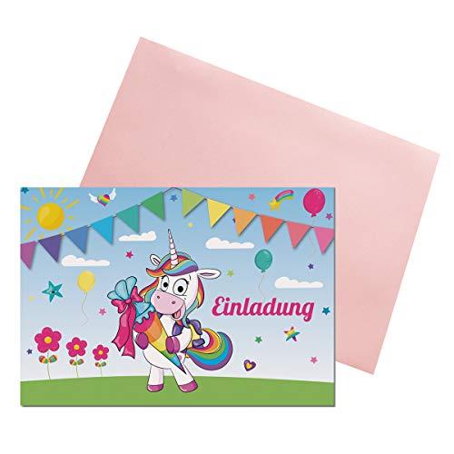 KREATIVES HERZ Einladungskarten zur Einschulung Schulanfang Einhorn Einladungen (A6) für Jungen und Mädchen (10 Karten + farbige Umschläge)