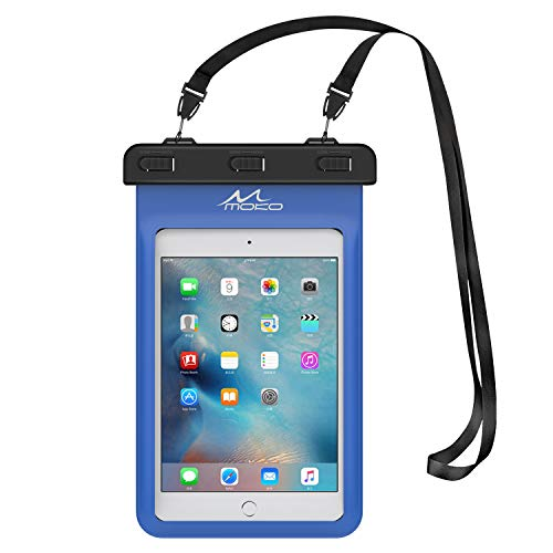 MoKo Funda Impermeable - Universal Waterproof para iPad Mini 2019 / iPad Mini 4 3 2 1/ Nexus 7/ G Pad 7.0/8.0/8.3/ Venue 7.0/8.0/8.0 Pro, Lenovo Tab A7 y Tableta 8.4 Pulgadas - Azul