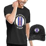 sunminey Homme T- T-Shirt Polos et Chemises Men's Cotton T Shirt + Baseball Hat - US Army 197th Infantry Brigade Veteran