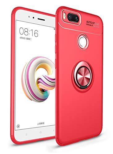 SORAKA Funda para Xiaomi Mi A1 con Anillo Giratorio de 360 Grados Funda Silicona Suave Funda Ultrafina con Placa de Metal para Soporte magnético de teléfono para automóvil