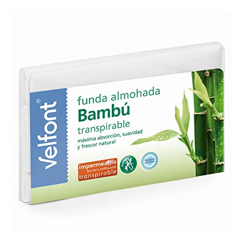 Velfont Funda Almohada Bambu Impermeable Transpirable hipoalergenica Tratamiento aloevera y Bambu Todas Las Medidas (90cm)