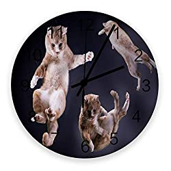 12 Inch Round Wooden Wall Clock, Funny 3D Cats Animal Pattern Non Ticking Silent Wall Clock, Quartz Battery Operated Easy to Read Decorative Clock for Living Room/Bedroom