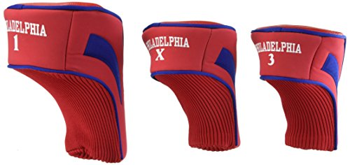 Team Golf MLB Philadelphia Phillies Contour Golf Club Headcovers (3 Count), Numbered 1, 3, & X, Fits Oversized Drivers, Utility, Rescue & Fairway Clubs, Velour lined for Extra Club Protection