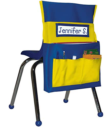 """Carson Dellosa Chairback Buddy Pocket Chart—Blue and Yellow Desk Chair Seat Back Organizer With 6 Pockets for Classroom Supplies, Student Name Tag With Pocket (15"""" x 19"""")"""