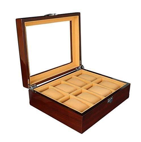 GNLIAN HUAHUA Watch Bander Box Caja de Almacenamiento de Madera Reloj Display Display 8 cuadrículas de Cuadros de Reloj Caja de exhibición de Joyas