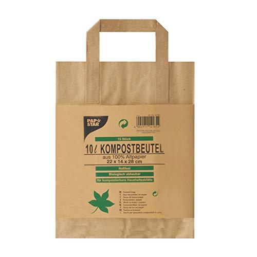 Papstar 1 Karton = 20x15 Kompostbeutel aus Papier mit Henkel 10 l 28 cm x 22 cm x 14 cm braun