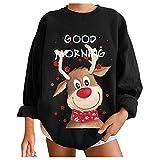 Jersey de Talla Grande para Mujer 2021 Moda Mujer Navidad muñeco de Nieve Estampado pulóver Manga Larga Suelta Cuello Redondo Sudadera Camisas Tops otoño Invierno