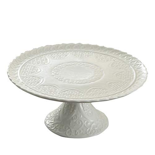 AOYANQI-Vaisselle Gâteau stand avec des motifs, blanc anti-chute en céramique en plastique couverture Dessert Table Party Affichage Plateau d'accueil Utilisez des fruits Cookies plaque décorative pour