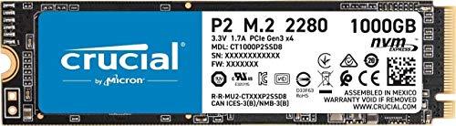 Crucial P2 CT1000P2SSD8 Disco Duro sólido Interno SSD de 1TB, de hasta 2400 MB s (3D NAND, NVMe, PCIe, M.2)