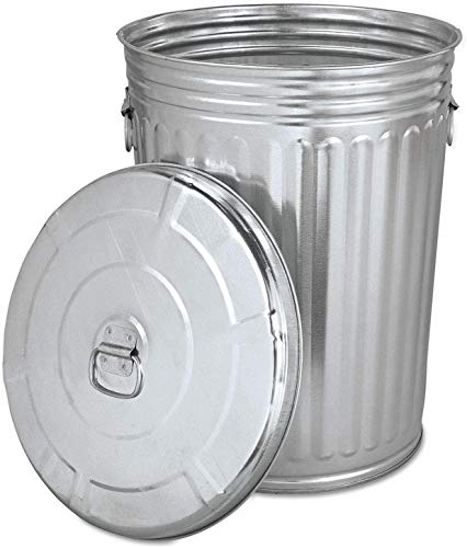 KCHEX Trash can with lid - Pre-Galvanized Trash Can with Lid Round, Steel, 20gal, Gray, Sold as 1 Each - Metal Trash can - Outdoor Garbage can with lid - Galvanized Trash can with lid.