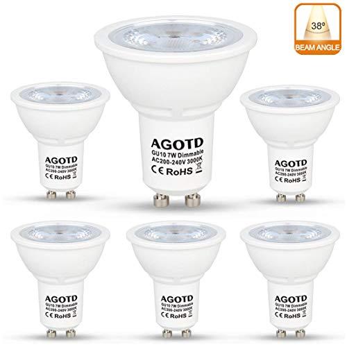 AGOTD Bombillas LED GU10 Regulable 7w Blanco Cálido, Alta Compatibilidad, Sin Parpadeo, Sin Ruido, 3000K, 560Lm, Lampara Halogenos Equivalentes a 50 Watt, 230V, Pack de 6