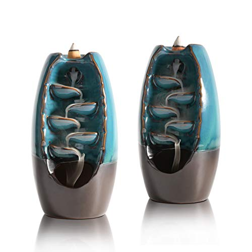 ComSaf Rückfluss Räuchergefäß Keramik 2er Set, Wasserfall Weihrauch Halter für Zuhause und Büro Yoga, Spa (Blau)