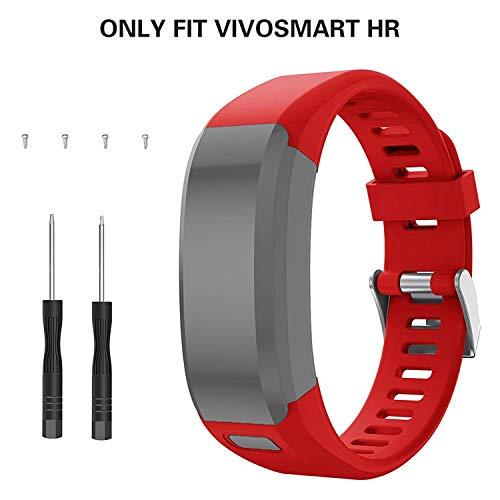 kitway Bands Vivosmart HR Correa, Accesorios Banda de Reloj de Silicona Suave Ajustable Reemplazo diseñado para Vivosmart HR Smart Sport Reloj (no rastreador)