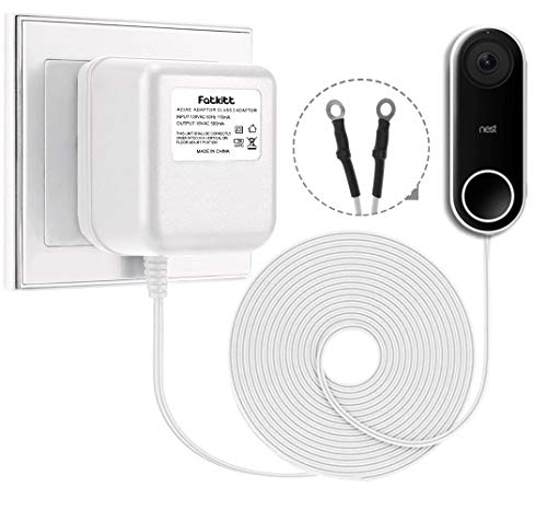 Fatkitt 18V Doorbell Transformer, Power Supply Adapter, Compatible with Nest Hello Video Doorbell, Arlo and Eufy Doorbell, 18 Volt VAC 500 mA Transformer with 13 ft Cable (White)