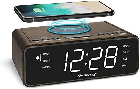 REACHER Wooden Digital Alarm Clock Radio with Wireless Charging USB Charger 2 Wake Up Sounds product image