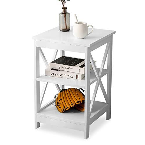 SUREN 2er-Set Nachttische, Holz Beistelltisch mit Stauraum, Moderne Sofatische, Kleine Couchtische mit Ablage für kleine Räume, für Wohnzimmer, Stabile, Platzsparend