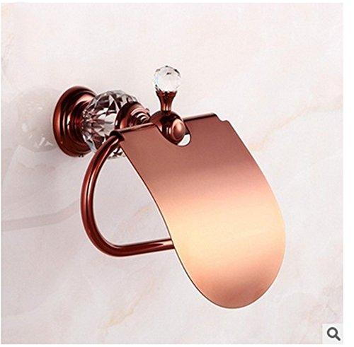 YUCH Or rose, titulaire de tissu imperméable à l'eau de cristal avec WC couvercle porte-rouleau de cuivre