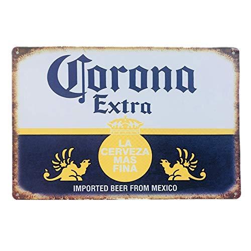 Alanader Corona Extra Bier Kunst Poster Metall Blechschilder Retro Wandaufkleber Bar Pub Cafe Dekor Kunst Plakette Weiß 20x30cm
