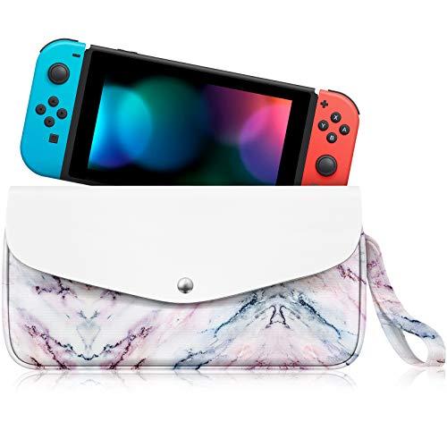 FINTIE Bolsa para Nintendo Switch - Estuche Portátil de Viaje Funda con Ranuras para Tarjetas de Juego Bolsillo Grande y Correa para Nintendo Switch y Accesorios, Mármol Rosa