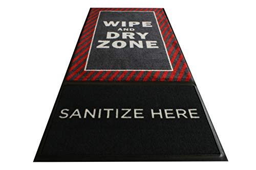 M+A Matting StepWell Shoe Sanitizing Mat   3' X 7' Footbath Mat with Carpeted Section to Dry Shoes  Red Caution Design