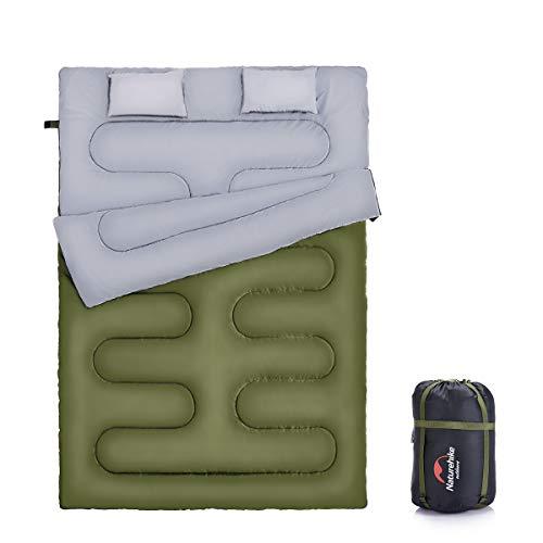Naturehike Saco de dormir doble para mochilas, camping o senderismo, tamaño Queen XL Saco de dormir impermeable para 2 personas para adultos o adolescentes. Camión, tienda de campaña o colchoneta de dormir (verde militar)