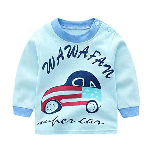 MRULIC Baby Kinder Tops Baumwolle Schöne Cartoon Tier Gedruckt Langarm Unisex T-Shirt Tops Pullover Button Shirt Bluse Jumper 0-3 Jahre(Hellblau,6-12 Monate)