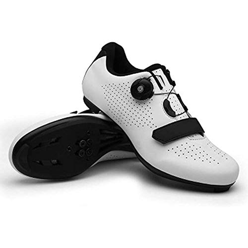 JINFAN Zapatillas De Ciclismo MTB Road,Zapatilla De Bicicleta para Hombre Mujer,Antideslizantes,Unisex Adulto,White-41EU