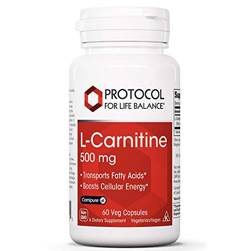 Protocol For Life Balance - L-Carnitine 500 mg - Transports Fatty Acids and Boosts Cellular Energy with Balanced Nutrition for Improved Performance & Recovery - 60 Veg Capsules