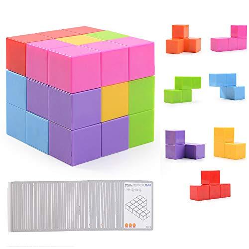 Ulikey Magique Cube, Blocs de Construction Jouets avec 7 Bricks + 54 Cartes, 3D Puzzle Cube Jeu d'entraînement Cérébral Educatifs, Jeu de Formation pour Enfants