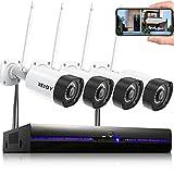 REIGY 3MP Kit Camara de Vigilancia WiFi Exterior con Audio Bidireccional, Sistema de Seguridad IP Inalámbrico Interior 4X3MP Camara IP y 8CH 5MP NVR, Visión Nocturna Detección Movimiento Sin HDD