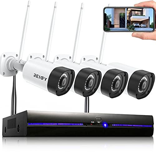 3MP Kit Videosorveglianza Wi-Fi Esterno Audio Bidirezionale, REIGY H.265 Sistema di Telecamera Sorveglianza con 8CH NVR+4*Videocamere IP, Plug and Play Visione Notturna Accesso Remoto Senza HDD