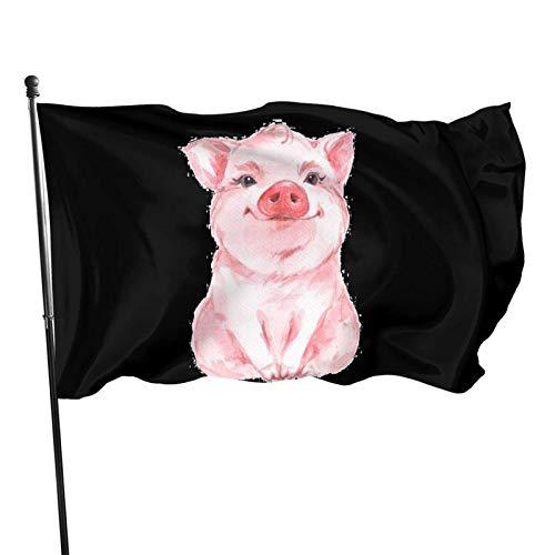 Bandera de jardín con diseño de cerdo rosa, color vivo y resistente a los rayos UV, doble costura para patio, bandera de temporada, banderas de pared de 3 x 5 pies