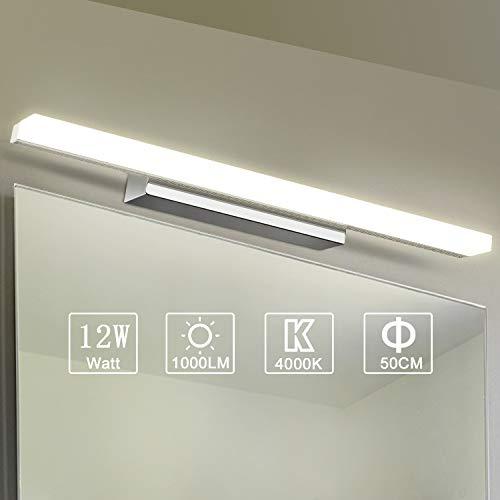 Yafido Aplique Espejo Baño Interior LED 50CM luz Baño Lámpara de Pared Espejo Iluminación para Maquillaje 12W Blanco Neutro 4000K 1000LM No-regulable