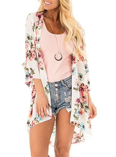 Women Floral Print Kimono Cover Up Sheer Chiffon Blouse Loose Long Cardigan Apricot X-Large