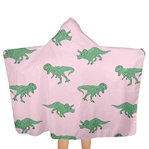 VVSADEB Toallas con capucha para niños con fondo rosa con dinos, ultra suaves, extra grandes, de secado rápido, toallas de baño de playa con capucha para niños y niñas (tamaño único)