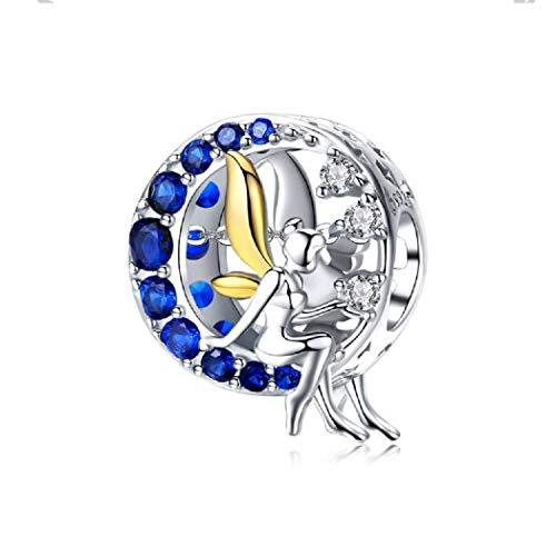 FeatherWish Charm, Tinkerbell Fee mit goldenen Flügeln, rund, 925er-Sterlingsilber, umgeben von blauen und klaren kubischen Zirkoniasteinen, passend für Pandora-Armbänder oder Halsketten