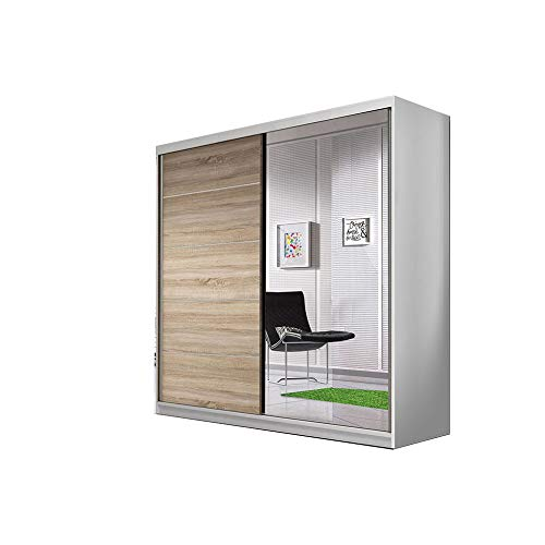 Zweefdeurkast Kledingkast met Spiegel Garderobekast met planken en kledingstang - 183x61x218 cm (BxDxH) - TESS 03 BIS (Wit + Sonoma)