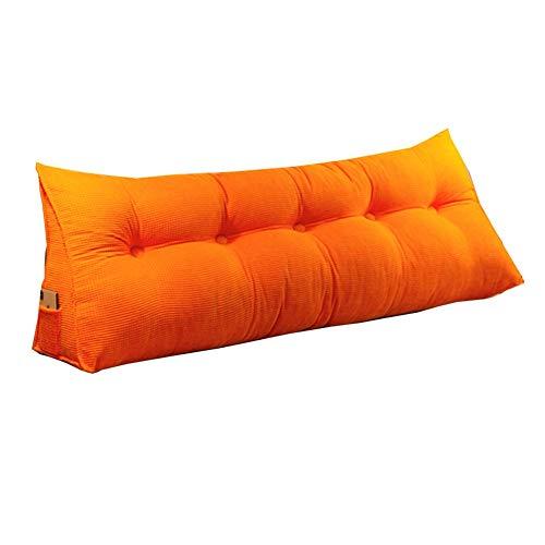 ZHAYEDE Große Bequeme dreieckige Rückenlehne Bett Kissen Kopfteil,Rückenkissen keilkissen Bett zum Lesen Rest im Bett Rest Atmungsaktive Lendenkissen Bücherkissen Taille mit waschbarem Orange