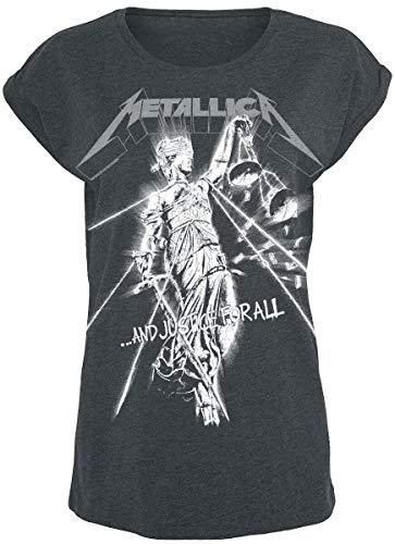 Metallica Raining Light Mujer Camiseta Gris S, 60% algodón, 40% poliéster, Regular