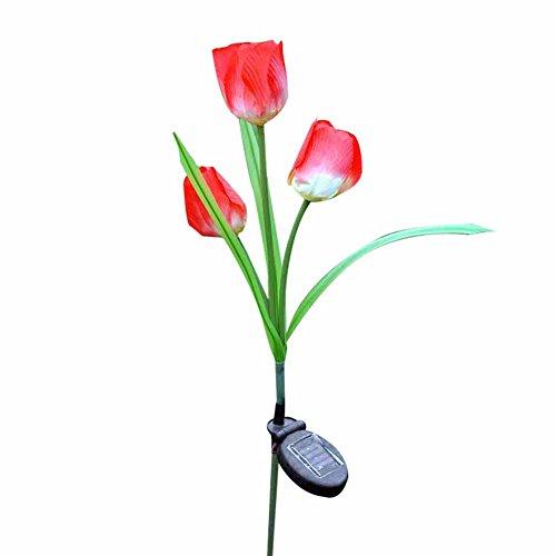 Crewell LED Simulation Tulipe Lampe Solaire Décoration Durable pour Jardin, pelouse, Véranda, Terrasse ou Trails, etc, Réaliste, Élégant,