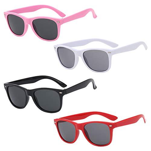 QSXX Polarizadas Niños Gafas de Sol, 4 Piezas Gafas de Sol POLARIZADAS,Gafas de Sol de Moda Retro Moda Protección UV Gafas de Sol UV400 Protección 100% Contra Rayos Ultravioleta para Niños y Niñas