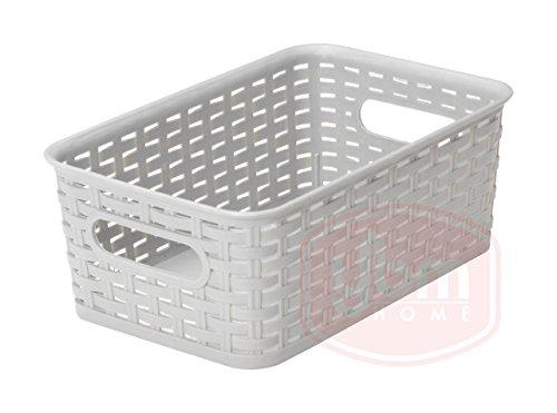 YBM casa contenedor de plástico caja de almacenamiento de mimbre abierto cesta de basura armario estante armario de cocina Pantry oficina organizador de escritorio