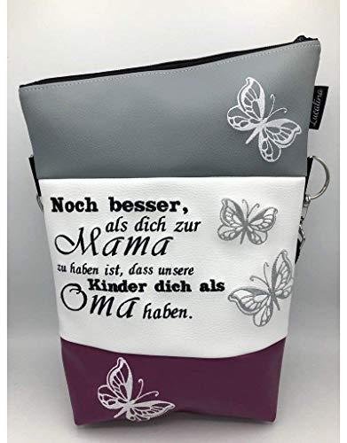 Handtasche Schmetterling Mama Oma Tasche Foldover Schultertasche