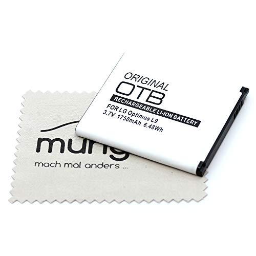 Mungoo - Batería de repuesto para LG Optimus L9 II Optimus L9 Optimus F5 Optimus 4X HD (sustituye a la batería original BL-53QH) OTB con paño de limpieza de pantalla