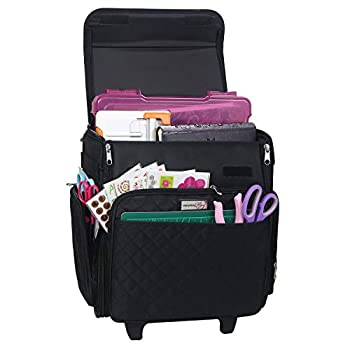Everything Mary Rolling Craft Bag Black Quilted - Papercraft Tote with Wheels for Scrapbook & Art Storage - Organizer Case for IRIS Boxes Supplies and Accessories - for Teachers & Medical