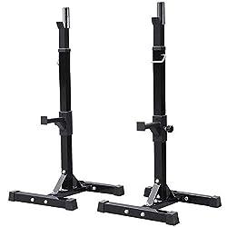 powerful Yaheetech Adjustable Squat Rack Pair Standard 44-70 Sturdy Steel Barbell Squat Rack …