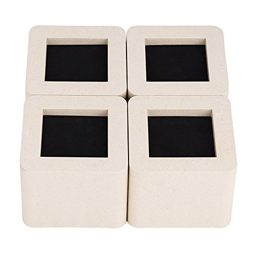 4 Stück/Set Uping Möbelerhöher Betterhöhung, Keramik Simulierte Kunststoff Möbelerhöhung Tischerhöher für Bett Sofa Schrank Möbel usw 10,5 * 10,5 * 8,5 cm (Beige)