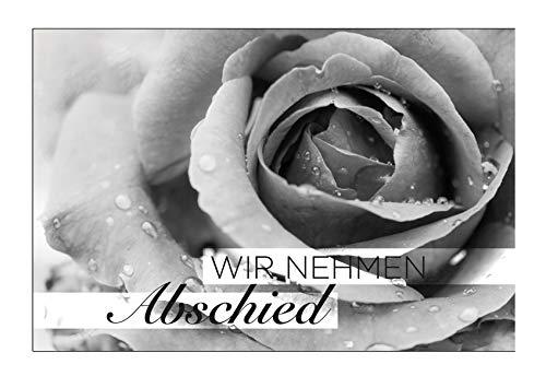 20 Premium-Trauerkarten Klappkarten mit 20 Umschlägen im Set (12x18cm) (Blume) mit Text - wir nehmen Abschied - Bekanntmachung Trauer, Beerdigung, Sterbefall, Todesfall